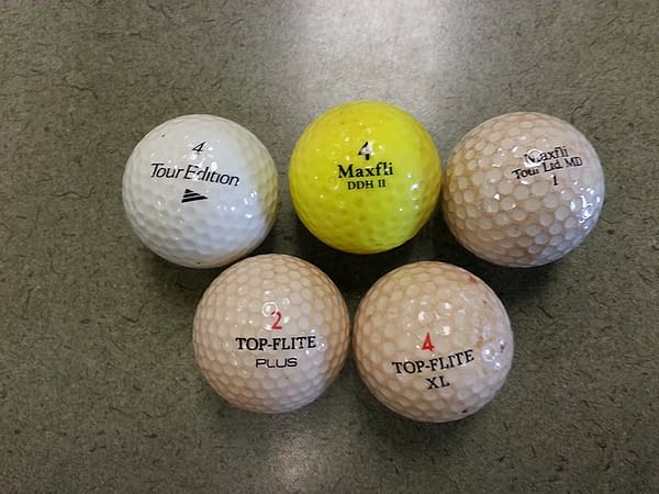 golf balls after removal